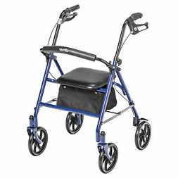 4 Wheel Walker Rollator with Fold Up Removable Back Support