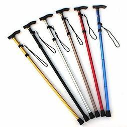 New Aluminum Metal Walking Stick Easy Adjustable Folding Col