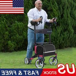 2020 Folding Upright Rollator Walker Medical Seat & Back Fou