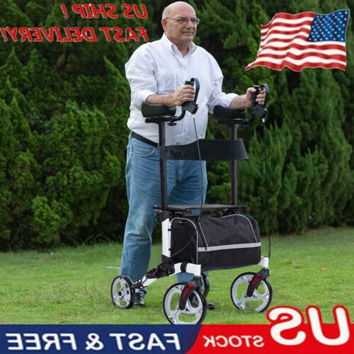 folding upright rollator walker drive medical seat