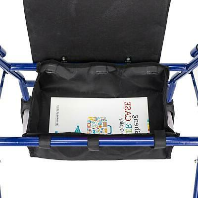 US Folding Heavy 450lb Rollator With Seat Blue