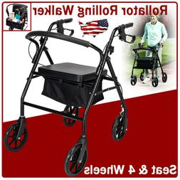 Medical Rollator Fold Up Rolling Walker w/Seat&Wheel Mobilit
