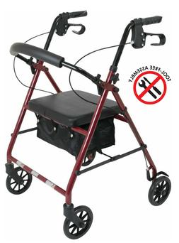 NEW Lightweight Rollator Walker With Wheels and Soft Seat by