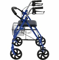 Rolling Walker For Seniors Seat Oversized Wheels Basket Fold